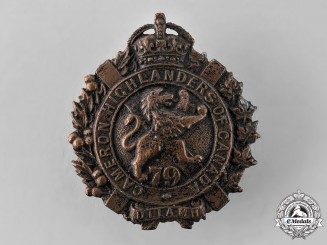 Canada, Dominion. A Pre-First War 79th Cameron Highlanders of Canada Collar Badge, 1910 Model