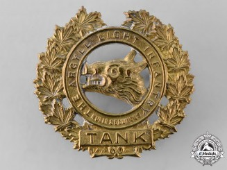 Canada, Commonwealth. An Argyll Light Infantry (Tank) Cap Badge, c.1940