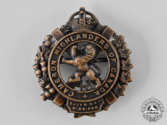"Canada, CEF. A 43rd Infantry Battalion ""Cameron Highlanders"" Glengarry Badge, c.1916"