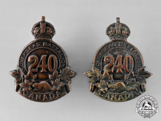 "Canada, CEF. A 240th Infantry Battalion ""Lanark and Renfrew Battalion"" Collar Badge Pair"