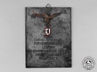 Germany, Luftwaffe. A Luftgau XI Honour Plaque to Major Ludwig Niemeyer