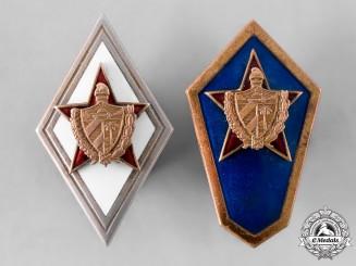 Cuba, Socialist Republic. A Rare Set of Military Academy Graduation Badges