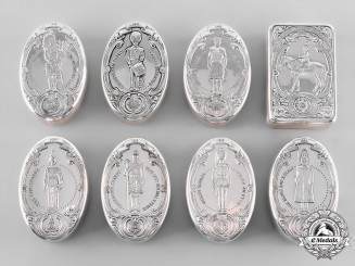 United Kingdom. A Lot of Eight Silver Regimental Snuff Boxes