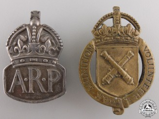 Two British War Volunteer & Service Badges
