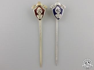 Two German Fireman's Long Service Pins; Silver & Gold