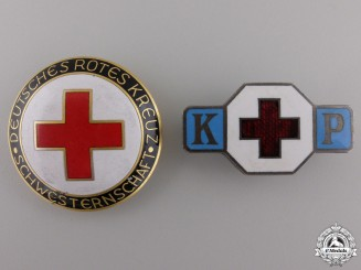 Two German Red Cross Badges