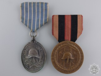 Two German State Fire Service Medals