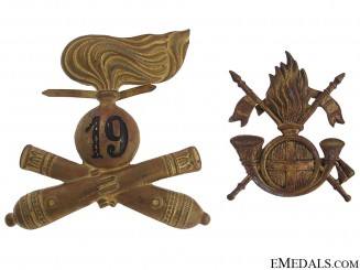 Two Italian Hat Badges
