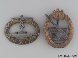 Two Kriegsmarine badges