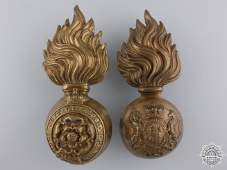 Two Large Victorian Fusiliers Cap Badges
