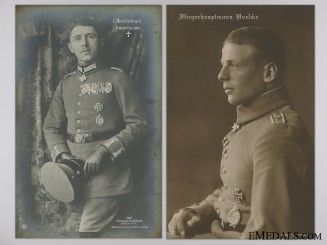 Two Pour le Merite Award Recipient Pilot Studio Portrait Postcards