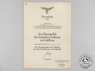 A Luftwaffe Honor Goblet Award & 100 Mission Documents to Obergefreiten Karl-Heinz Baumann, 8./KG 4