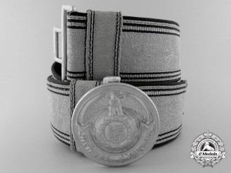 A General-SS and SS-Verfügungstruppe (SS-VT) Brocade Belt and Buckle belonging to Sturmbannführer Heinrich Springer, 1st LAH
