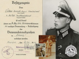 A Panzer Grenadier Division Großdeutschland; Black Wound Badge Award Document