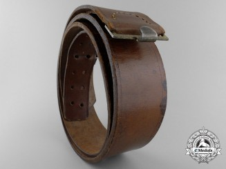 A Brown Leather German Belt; Stamped