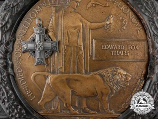 A Memorial Plaque & Cross to Lieutenant Edward F. Thairs; Battle of Amiens