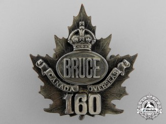 A First War 160th Officer's Bruce County Overseas Cap Badge CEF