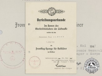 A Silver Grade Reconnaissance Clasp Award Document 1941