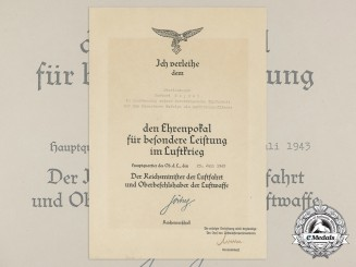 A Honour Goblet Award Document to Reconnaissance Pilot 23.7.1943