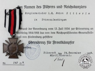 A First War Hindenburg Cross & Award Document 1943