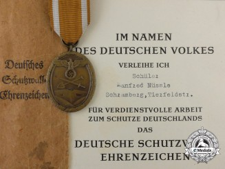 A West Wall Medal & Award Document 1945