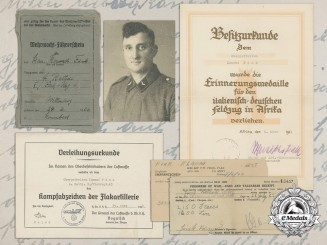 A Luftwaffe Group to Obergefreiten Konrad Fink, 4. Batterie, I.-Flakregt.43