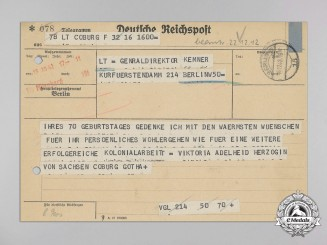 A Birthday Wishes Telegram from The Duchess Victoria Adelaide of Saxe-Coburg-Gotha to Genraldirektor Kemner