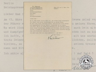 A Letter from Chief of the Presidential Chancellery Otto Meissner to SS-Obergruppenführer Max Amann