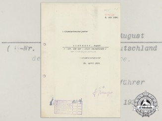 A 1936 SS Badge Award Letter to August Diekmann; III SS Deutschland