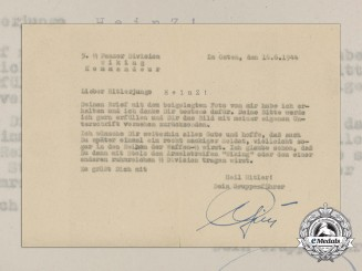 A Letter from KC with Swords & Oak Leaves Recipient Waffen-SS Gruppenführer Herbert Otto Gille