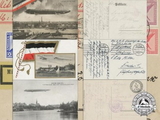 Three German Zeppelin Postcards and Envelope