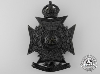 A Canadian Militia 65th Regiment Mount Royal Rifles Helmet Plate
