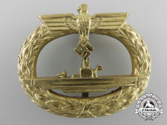 A Mint Kriegsmarine Submarine War Badge by Schwerin