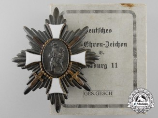 A Mint First war German Field Honour Badge by M. Fleck & Sohn with Box