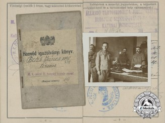A First War Hungarian Hussar's Military Identification Pass