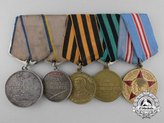A Soviet Russian Second War Five Piece Medal Group