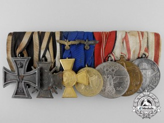 A First & Second War German Medal Bar with Seven Decorations