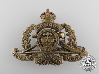 A First War 67th University of Toronto Overseas Field Battery Cap Badge,