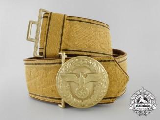 A Full Golden NSDAP Political Leader's Brocade Dress Belt & Buckle by Friedrich Linden