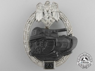A Mint Panzer/Tank Badge Grade II; Silver Grade by Josef Felix Sohn