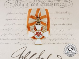 A Red Eagle Order in God with Award Document Signed by  Wilhelm II