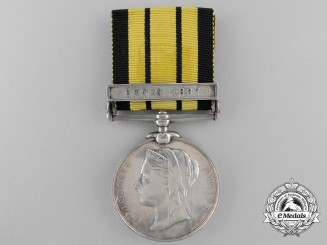 An East and West Africa Medal to Ordinary Seaman Albert Henry Rackliff; H.M.S. Theseus