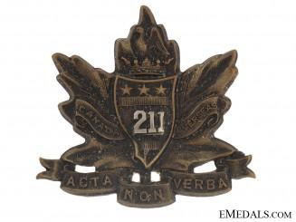 WW1 211th Bn CEF Alberta Americans Officer's Cap Badge - CEF