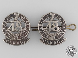 Canada, CEF. A Pair of 15th Battalion Officer's Collar Badges (48th Highlanders of Canada), CEF