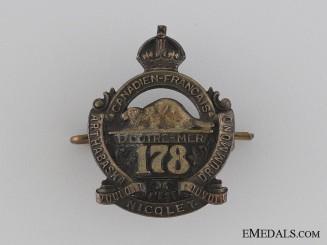 WWI 178th Infantry Battalion Collar Tab CEF