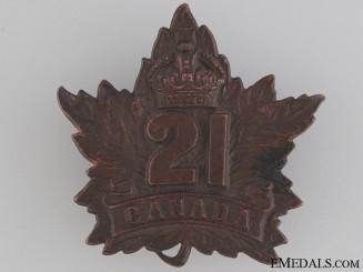 WWI 21st Battalion Cap Badge CEF