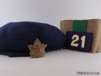 WWI 21st Canadian Infantry Battalion Vimy Pilgrimage Armband & Cap
