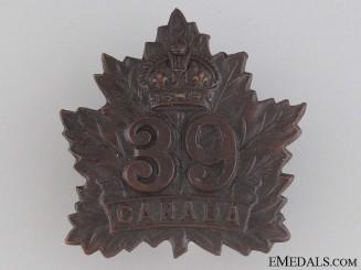 WWI 39th Infantry Battalion Cap Badge CEF