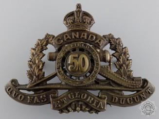 WWI 50th Queen's University Overseas Field Battery Cap Badge