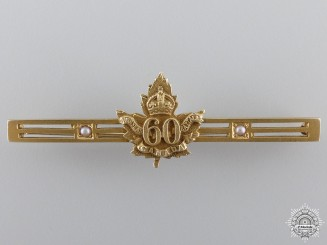 "WWI 60th Infantry Battalion ""Victoria Rifles of Canada"" Gold Badge"